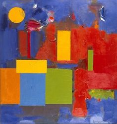 Rising Moon, Hans Hofmann. Hoffman combines a lot of contrasts in this artwork. Not only color contrast, which is significant on the first sight but also contrast in shapes (square/round) and contrast in layers.The first layer seems to viewer´s eye like blurry and the second layer is very sharp.