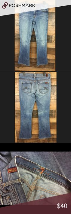 7 for All Mankind Light Wash Flare 7 FAM lightwash Flare jeans. Tear in left knee, can be seen in photos. These are still in great shape, no stains. Inseam is 34 inches. 7 For All Mankind Jeans Flare & Wide Leg