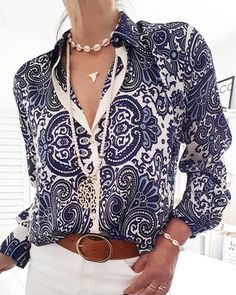 Paisley Print Long Sleeve Casual Shirt - Just Shop Mode Outfits, Fashion Outfits, Fashion Tips, Fashion Trends, Mode Chic, Maxi Dress With Sleeves, Lace Sleeves, Look Fashion, Classy Fashion