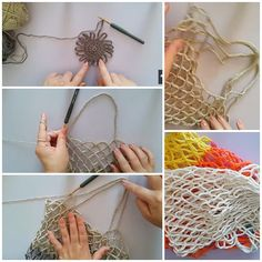 Rustic Market Bag pattern by Camilla N. Crochet Market Bag, Crochet Tote, Filet Crochet, Diy Crochet, Rope Crafts, Diy And Crafts, Net Bag, Tote Pattern, Knitted Bags