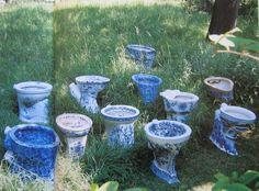Victorian blue & white toilets