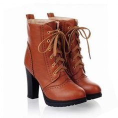 $17.76 Vintage Casual Chunky Heel Womens Short Boots With Pure Color Lace-Up and Engraving Design