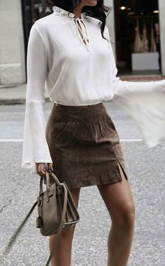 bell sleeve blouse + suede skirt