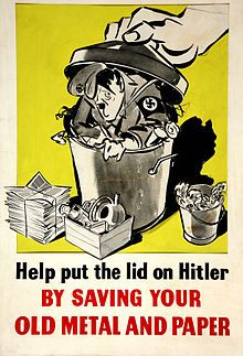 Salvage – Help put the lid on Hitler by saving your old metal and paper