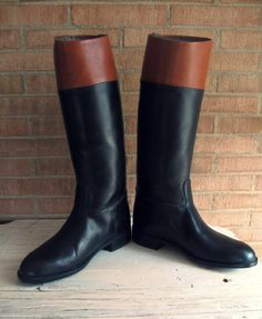 Vintage Leather Cavalry Boots/ Vintage Men's Horse Riding Boots / Vintage Men's Equestrian Riding Boots Made in Italy / Brown & Black Boots