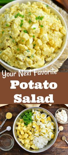 Potato salad is a classic side dish for barbecue parties and picnics and so easy to make ahead of time. This is my family's favorite potato salad recipe loaded with soft gold potatoes, eggs, onions, and a simple mayo dressing. #sides #sidedish #potatoes #potatosalad #eggs #barbecue #picnicrecipes Easy Salad Recipes, Easy Salads, Side Dish Recipes, Real Food Recipes, Dinner Recipes, Dinner Ideas, Vegan Recipes, Dessert Recipes, Cooking Recipes