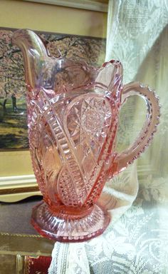 Early brilliant cut glass pitcher in lavender