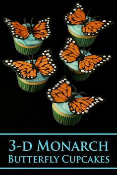 3D Monarch Butterfly Cupcakes - Celebration Generation Sweets Recipes, Cupcake Recipes, Donut Recipes, Pudding Recipes, Meringue Powder, Swiss Meringue Buttercream, Minnesota Food, Recipe Maker, Butterfly Cupcakes