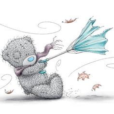 Bear with umbrella in the wind Tatty Teddy, Teddy Bear Pictures, Blue Nose Friends, Love Bear, Cute Teddy Bears, Bear Art, Cute Illustration, Cute Cartoon, Cute Pictures