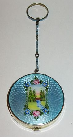 Gorgeous Sterling Silver & Blue Guilloche Enamel Scenic Compact with Finger Ring or Chatelaine