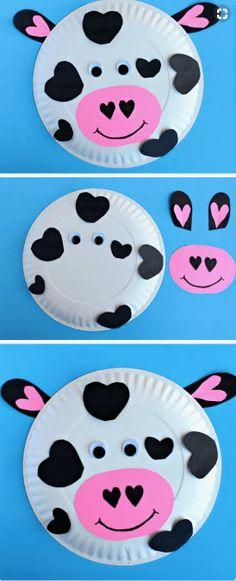 Activities Paper Plate Heart Cow DIY Valentines Day Crafts for Kids to Make Easy Valentine Crafts for Toddlers to Make Valentine's Day Crafts For Kids, Daycare Crafts, Preschool Crafts, Projects For Kids, Kids Crafts, Art For Kids, Arts And Crafts, Art Children, Kindergarten Crafts