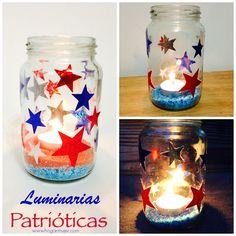 Idea de reciclaje: Luminarias patrióticas para el 4 de Julio