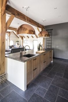 Open Plan Kitchen Dining, Kitchen Living, New Kitchen, Cabin Kitchens, Cool Kitchens, French Country Kitchens, Dream Home Design, Küchen Design, Beautiful Kitchens