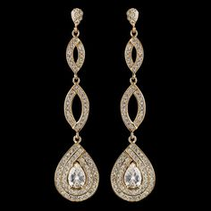Gold Plated Teardrop CZ Pave Bridal and Formal Earrings - Affordable Elegance Bridal -