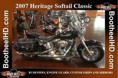 2007 H-D® FLSTC Heritage Softail® Classic   RUSH PIPES, ENGINE GUARD, CUSTOM GRIPS AND MIRRORS, VERY CLEAN!  MODERN SOFTAIL® COMFORT WITH A STABLE OF TOURING ESSENTIALS. Used Harley Davidson, Pipes, Touring, Mirrors, Engineering, Essentials, Motorcycle, Classic, Modern