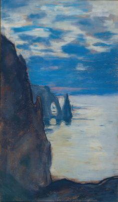 "Monet - ""Étretat, the Needle Rock and Porte d'Aval"" , c. 1885, pastel on tan paper 400x235cm, private collection"