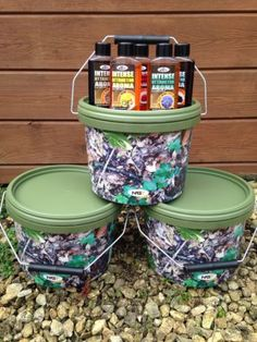 3 x 2.5l camo bait #buckets + 5 x #intense attractor dips for carp #fishing,  View more on the LINK: 	http://www.zeppy.io/product/gb/2/381028977683/