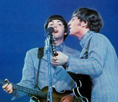 The Beatles' final concert in New York would be at Shea Stadium, but compared to the previous year's record-setting sellout, the 1966 perf. The Beatles Live, Les Beatles, John Lennon Beatles, Beatles Lyrics, Shea Stadium, Lennon And Mccartney, Recorder Music, The Fab Four, John Paul