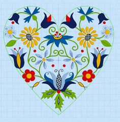 Folk Embroidery Ideas Kaszubian Floral Design with Tulipan in Heart-shape inch - Hungarian Embroidery, Folk Embroidery, Machine Embroidery Designs, Embroidery Patterns, Cross Stitch Patterns, Embroidery Tattoo, Motif Floral, Floral Design, Bordado Popular