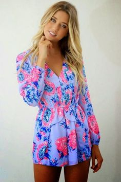 Simple And Cute Sleeve Floral Mini Long Sleeve Romper
