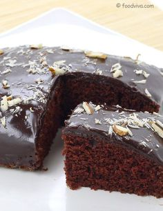 This Eggless Chocolate Cake Recipe Explains How To Make Soft and Spongy Chocolate Cake Without Using Eggs and Condensed Milk At Home With Step By Step Photos. It Also Explains How To Make Chocolate Ganache and Use It As a Cake Frosting. Eggless Recipes, Eggless Baking, Eggless Chocolate Cake, Chocolate Ganache, Chocolate Buttercream, Buttercream Frosting, Vegan Cake, Vegetarian Cake, Vegetarian Chocolate