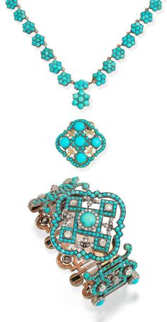 An antique turquoise and diamond bracelet, turquoise necklace and turquoise clasp, mid-19th century.
