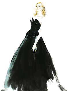by David Downton ~ another masterpiece! He's so clever, it looks vintage/classic yet contemporary. Illustration Mode, Fashion Illustration Sketches, Fashion Sketchbook, Fashion Sketches, Photo Illustration, David Downton, Fashion Art, Fashion Models, Fashion Beauty