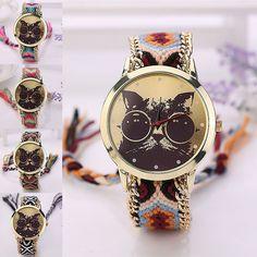 Bohemia Diy Knitted Chain Band Glasses Cat Pattern Women Girl Quartz Wrist Watch