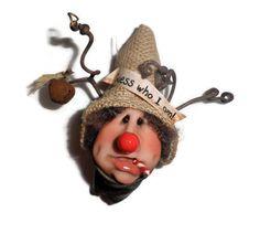 Original Handcrafted Christmas Tree Ornaments Santa Elf-Guess Who I Am! by JingleJangleJElves on Etsy