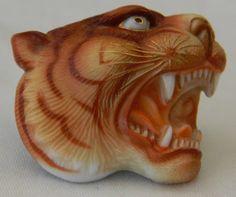 "35% OFF Vintage Toshikane Arita Porcelain Japan Siberian Tiger Tie Tac 15/16"" x 1 1/8"""