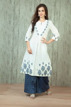 Cotton weaved and block print kurta embellished with thread work and cotton printed palazzo from #Benzer #Benzerworld #Indowesternwear #womenswear