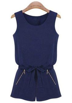 Dark Blue Plain Zipper Mid-rise Chiffon Short Jumpsuit
