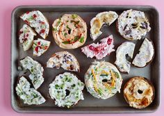 Plain cream cheese is delicious, but why not get a little creative with your morning bagel? Here we have 11 ways to start with plain cream cheese and turn it into a schmear to make your fancy bagel shop jealous. We're not just talking about run-of-the-mill cream cheese flavors like scallion or strawberry — these 11 unique mix-ins start with pumpkin, progress to pickle, and close with chocolate. These are schmears to kvell over.