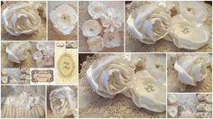 Ivory satin fabric roses with crystals, pearls, rhinestones,