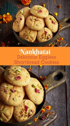 Light and crumbly, these cardamom and rose flavoured Indian shortbread cookies, aka Nankhatai are truly a delectable melt-in-your-mouth treat! Indian Dessert Recipes, Indian Sweets, Indian Snacks, Indian Recipes, Diwali Snacks, Diwali Food, Diwali Recipes, Diwali Party, Sweet Recipes