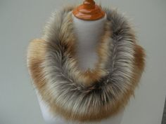 Large Faux Fur NECKWARMER Scarf Fox Gold Tip Dyed Faux от HotHats