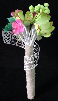 Bouquet en papier. Fleurs peintes à la main. Dentelle de papier aux formes géométriques... Création by deelina