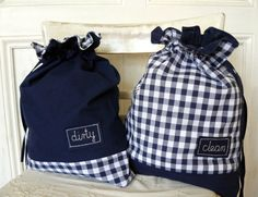Travel bags for laundry checkered white navy blue by BalticBags