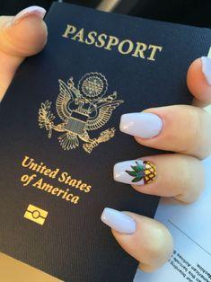 Summer nails! Coffin nails. Pineapple nail art. #cruisenails