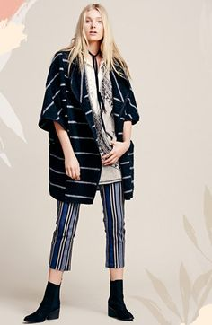 Free People Blanket Poncho, Sleeveless Tunic & Stripe Trousers available at #Nordstrom