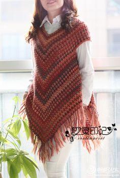 Poncho sweater pattern by Addi Crochet Poncho Patterns, Crochet Cardigan, Crochet Shawl, Diy Crochet, Crochet Top, Poncho Sweater, Crochet Fashion, Beautiful Crochet, Knitting Designs