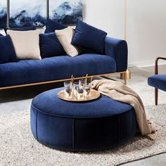 Whether it's royal blue or a bright teal, blue accents add calm to your space. Blue And Gold Living Room, Blue Couch Living Room, Blue Rooms, Home Living Room, Living Room Designs, Royal Blue Sofa, Blue Velvet Sofa, Navy Blue Couches, Navy Couch