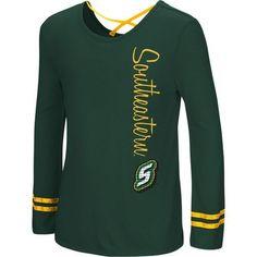 Colosseum Athletics Girls' Southeastern Louisiana University Marks the Spot Strappy Back Long Sleeve (Green Dark, Size