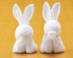 Oshiboriart - means wet towel folding art, similar with origami but using towel / napkin. Wet Towel Rabbit Bunny. This instruction is fro...