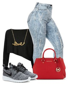 """""""Outfit for school tomorrow."""" by brooklyn-taylor-ford ❤ liked on Polyvore featuring moda, Crea Concept, Minnie Grace, MICHAEL Michael Kors e NIKE"""