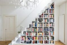 Stair library - space is an issue in this tiny cottage and so I plan to maximise use of clever and attractive storage solutions which I will design and make myself.