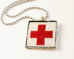 Image of Red Cross Patch Necklace. Cross Patch, Hello Nurse, American Red Cross, Nurse Quotes, Vintage Market, Arrow Necklace, Patches, Jewelry Design, Bling