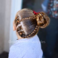 """467 Likes, 15 Comments - Tiffany ❤️ Hair For Toddlers (@easytoddlerhairstyles) on Instagram: """"Two sets of side connected ponytails, braids and a high side messy bun. Swipe right to see her…"""""""