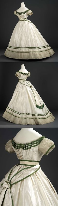 Girl's formal evening dress with sash, 1867. It is a House of Worth. Girl's formal evening dress with sash Charles Frederick Worth (1825 - 1895) Silk taffeta trimmed with bands of bright green silk satin, white silk lace and sheer silk tabby net 1867. There are no words to describe how gorgeous this is.
