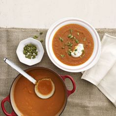 This simple spiced carrot soup gets added crunch from toasted pumpkin seeds and a mellow flavor from a drizzle of creamy yogurt. Recipe: Moroccan Carrot Soup  - Delish.com